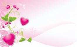 Brin avec les fleurs et les coeurs roses Image stock