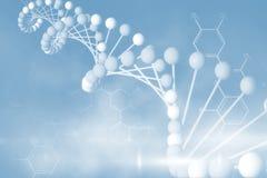 Brin bleu d'ADN avec les constitutions chimiques 3d Photo stock