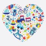 Brinca ícones para o bebê no formulário do coração ilustração do vetor
