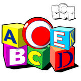 Brinca a educação das crianças da bola dos cubos do alfabeto Fotografia de Stock