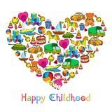 Brinca a infância feliz do coração ilustração do vetor