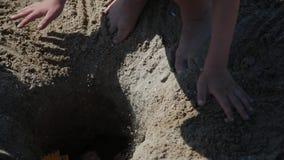 Brincadeiras na areia na praia perto do mar vídeos de arquivo