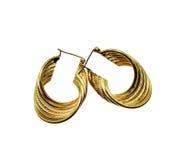 Brincos circulares do ouro Foto de Stock