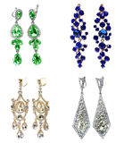 Brincos com joia brilhante dos cristais Imagens de Stock Royalty Free