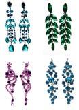 Brincos da joia com cristais brilhantes Fotos de Stock Royalty Free