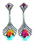 Brincos da joia com cristais brilhantes Fotografia de Stock Royalty Free