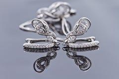 Brincos de prata elegantes na forma de uma ferradura Imagem de Stock Royalty Free