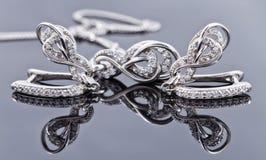 Brincos de prata elegantes na forma de uma ferradura Imagens de Stock