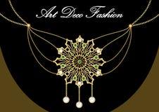 Brincos do ouro com gema verde Grupo de joia antiga do ouro no estilo do art deco Testes padrões nostálgicos do vintage Joia de b ilustração royalty free