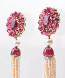 Brincos dos rubis Imagens de Stock Royalty Free