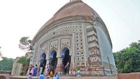 Brindaban Chandra's Math, historical Hindu temples at Guptipara, Burdwan, West Bengal, India. BURDWAN , INDIA - OCTOBER 20, 2015 : Visitors at late mediaeval stock video
