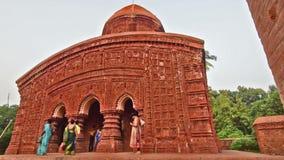 Brindaban Chandra's Math, historical Hindu temples at Guptipara, Burdwan, West Bengal, India. BURDWAN , INDIA - OCTOBER 20, 2015 : Visitors at late mediaeval stock video footage