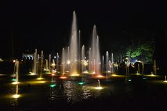 Brindavan Gardens. Fountain view in night stock image