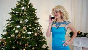 Brinde ao feriado da véspera de Ano Novo, menina bonita está bebendo o vinho, sorrindo, tendo o divertimento em uma festa de Nata vídeos de arquivo