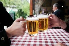 Brinde com cerveja Fotografia de Stock Royalty Free