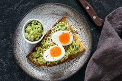 Brinde com opinião superior do guacamole do ovo e do abacate Foto de Stock Royalty Free
