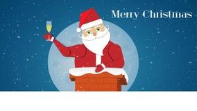 Brinde com vinho e Santa Claus antes para baixo da chaminé ilustração do vetor