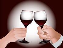 Brinde com vinho vermelho Foto de Stock Royalty Free