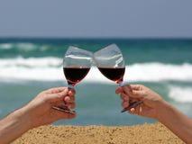 Brinde do vinho na praia Imagens de Stock Royalty Free