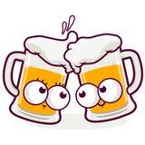 Brinde dos desenhos animados da cerveja Imagens de Stock