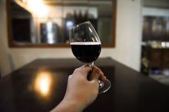 Brinde usando o vidro de vinho com vinho tinto fotos de stock