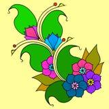 Brindille abstraite avec des fleurs Option de couleur Image stock