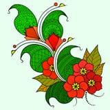 Brindille abstraite avec des fleurs Option de couleur Images stock
