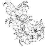 Brindille abstraite avec des fleurs Version noire et blanche Photo stock
