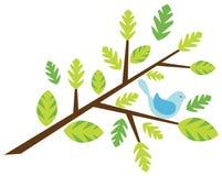Brindille avec un oiseau illustration libre de droits
