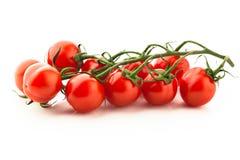 Brindille rouge de tomates-cerises sur le blanc Photo libre de droits