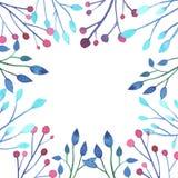 Brindilles d'aquarelle avec des feuilles et des baies illustration libre de droits