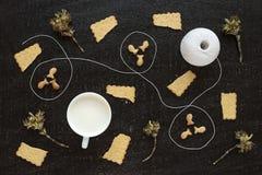 Brindilles, lait, écheveau de coton et biscuits de floraison Photo stock