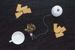 Brindilles, lait, écheveau de coton et biscuits de floraison Photo libre de droits