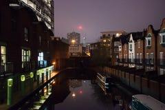 BrindleyPlace Birmingham bij nacht royalty-vrije stock afbeeldingen