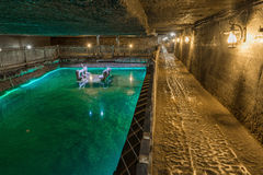 The Brine Lake of Cacia Salt Mine, Romania Royalty Free Stock Image