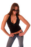 Bring It!. Sexy redheaded model looking over her sunglasses with major attitude isolated over white Royalty Free Stock Photo