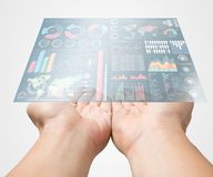 Bring business marketing information in your hand. Modern exclusive management chart infographic display on over in manager male open palm on white background royalty free stock images