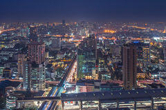 Bring me blue. Blue hour in Bangkok, from the top of the building Royalty Free Stock Images