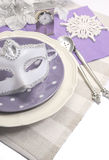 Bring in the New Year dining table place setting - vertical Royalty Free Stock Photos