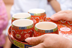 Bring tea. The traditional Chinese tea set Royalty Free Stock Images