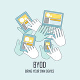 Bring your own device in flat thin line style. BYOD bring your own device in flat thin line style Royalty Free Stock Image