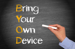 Bring your own device. Hand over a businesswoman writing the acronym bring your own device on a blackboard or chalkboard Royalty Free Stock Photos