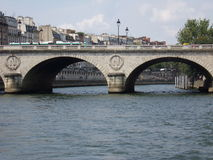 Bringe in Paris. One bridge in Paris,with symbol of Napoleon.Near Notre-Dame royalty free stock image