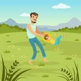 Bringen Sie das Drehen seines Sohns auf Naturvati und des Sohns, der zusammen auf Wiese, flache Vektorillustration der Familienfr Stockfoto