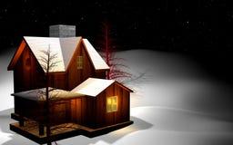 Bringen Sie das Haus unter, das durch Schnee abgedeckt wird Stockbilder