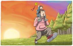Bringen Sie das Tragen seines Sohns auf Schultern mit Sonnenuntergang im Hintergrund hervor Lizenzfreie Stockbilder