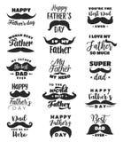 Bringen Sie Day-Grußkarte mit Beschriftung, Schnurrbart hervor lizenzfreie abbildung