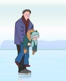 Bringen Sie den Eislauf mit seinem Sohn in seinen Händen hervor Stockbild