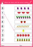 Bringen Sie die Früchte mit den korrekten Zahlen zusammen Lizenzfreie Stockfotografie