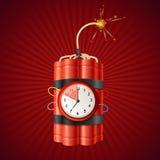 Bringen Sie Dynamit-Bombe und Timer-Uhr zur Detonation Vektor lizenzfreie abbildung